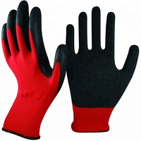 Work Light Duty Nylon Industry Crinkle Latex Rubber Palm Hand Protection Coated Machinist Safety Gloves