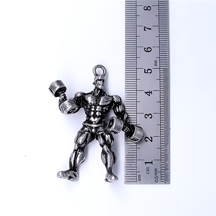 Barbell Pendant Key Chain Strong Bodybuilder Perfect Muscle Charm Keychain Gym Men's