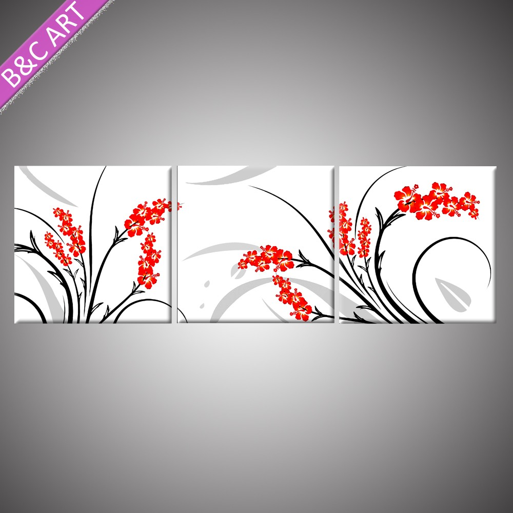 Multi colour offset printing stretched interior art painting decorative edelweiss flowers