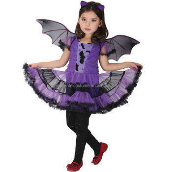 wholesale fairy wings halloween costume childrens party dress up bat wings tutu skirt set