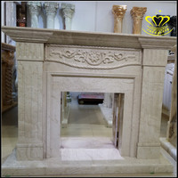 European villa interior living room beautifully decorated marble independent relief fireplace mantel
