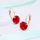 Round Shape Small Earring Jewelry Women's Romantic Silver-color Red Blue White CZ Stone Pierced Hoop Earrings