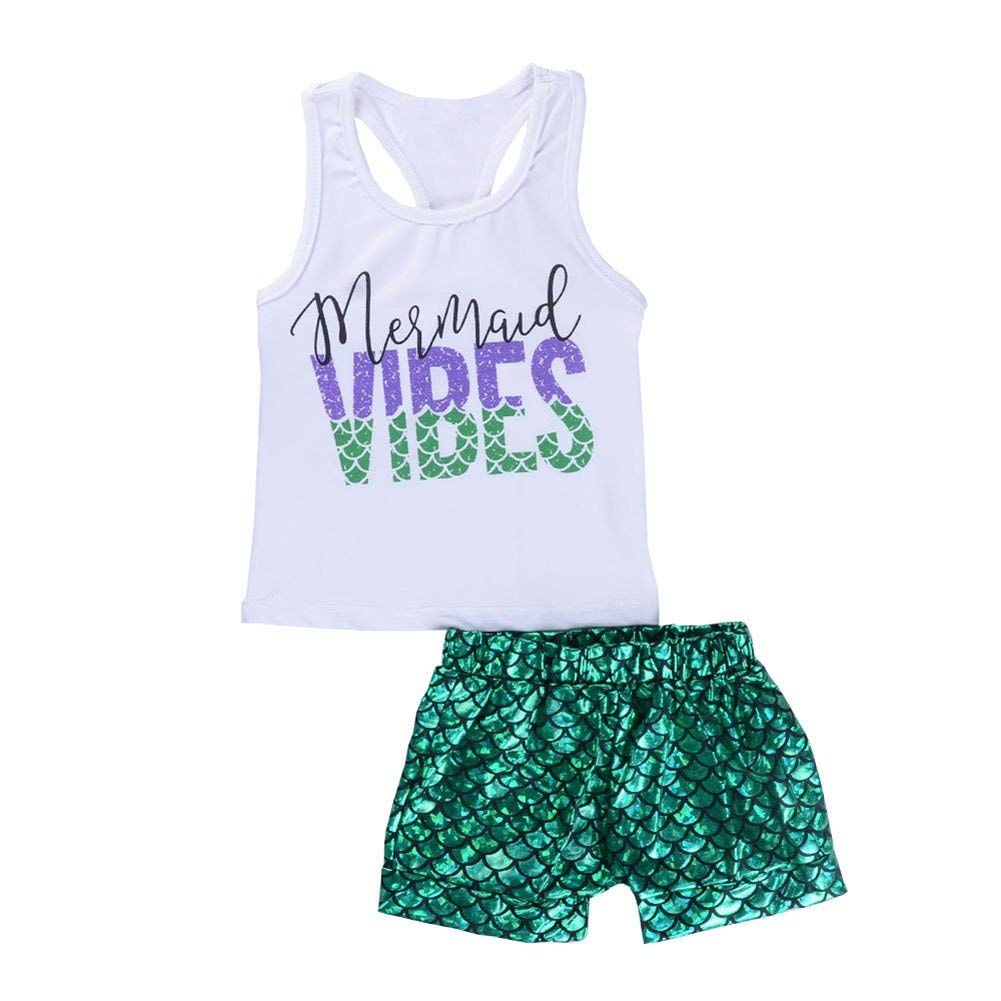 Digirlsor Baby Girls 2 Pcs Summer Mermaid Vibes Printed Vest Tops +Fish Scale Short Pants Outfit Set, 6M-5Y