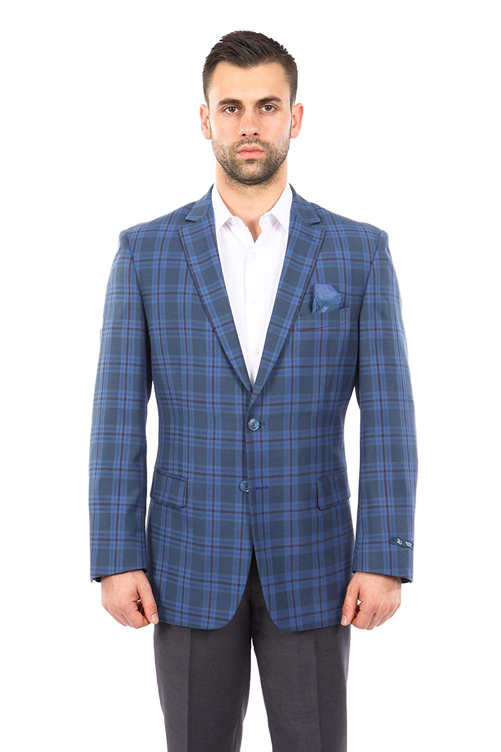 TAZIO Mens Jacket Modern Fit Madras Plaid Sports Coat Blazer
