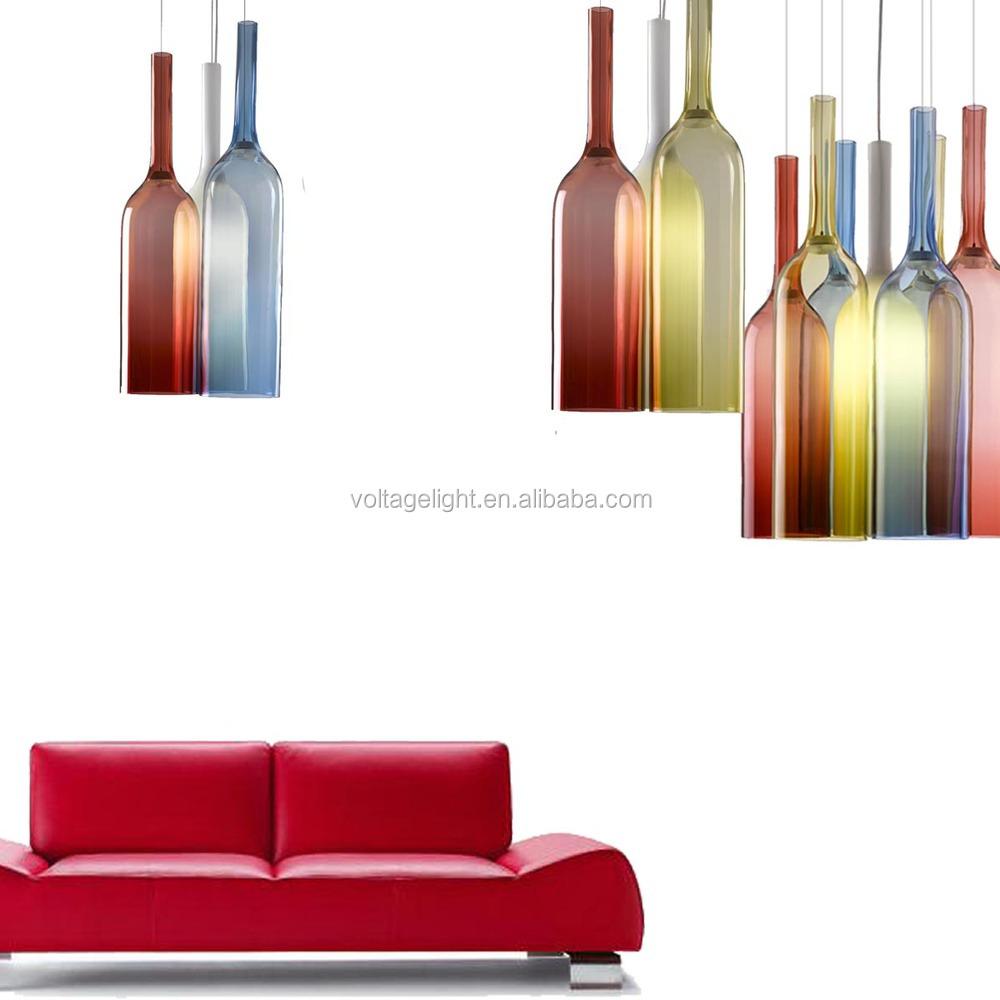 d coratifs bouteille en verre color suspendus lampes. Black Bedroom Furniture Sets. Home Design Ideas