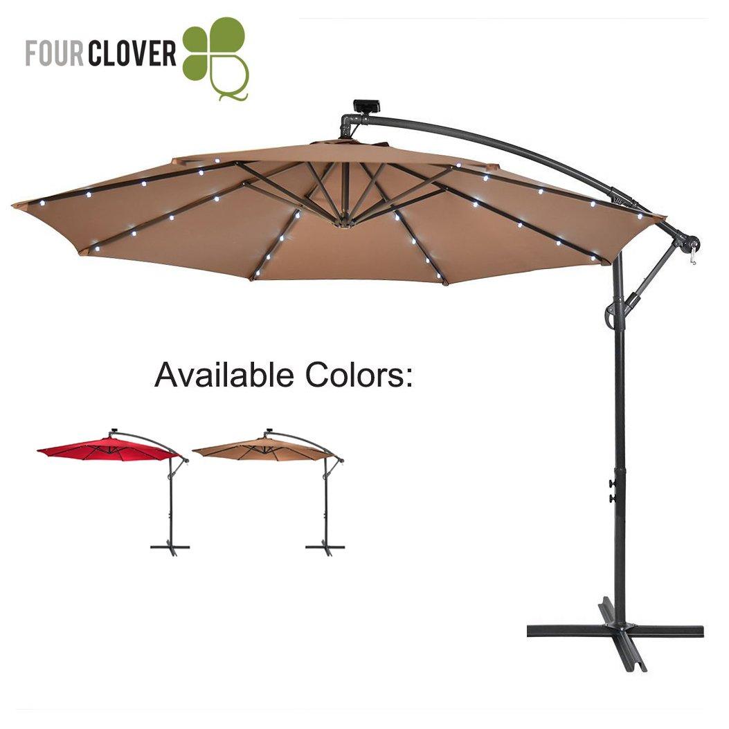 FOUR CLOVER 10 Ft Deluxe Solar 32 LED Lighted Patio Umbrella Offset Hanging Umbrella Outdoor Market Umbrella Garden Umbrella, 250g/sqm Polyester, with Cross Base and Crank (Tan)