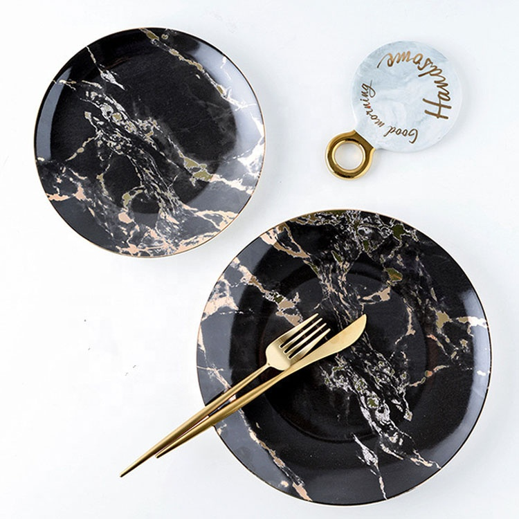creative home ceramic natural black marble gold serving dishes