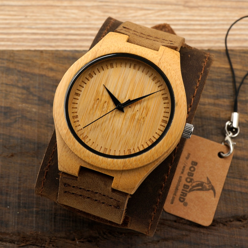 Bobobird Men Watch Natural Bamboo Japanese Quartz Wooden Dial Wide Genuine Leather Band Wrist Watch Brown