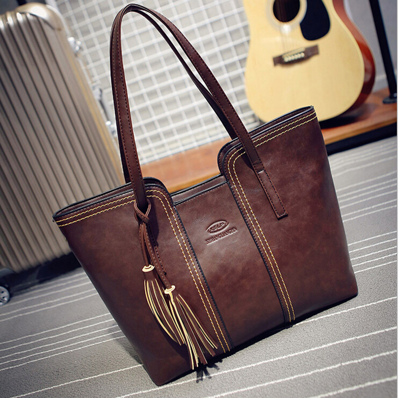 2015 New Style Simple Fashion Famous Designers Brand Handbags Large  Capacity Women Bags Pu Leather Bags Shoulder Tote Bags Big 951f7e0d03501