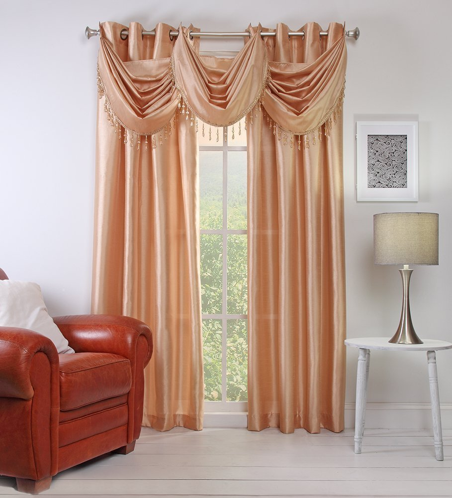 "1PC FAUX SILK CURTAIN DRAPE WINDOW PANEL WITH EIGHT GROMMETS FULLY STITCHED IN 50X63"" EACH PIECE IN SAND"