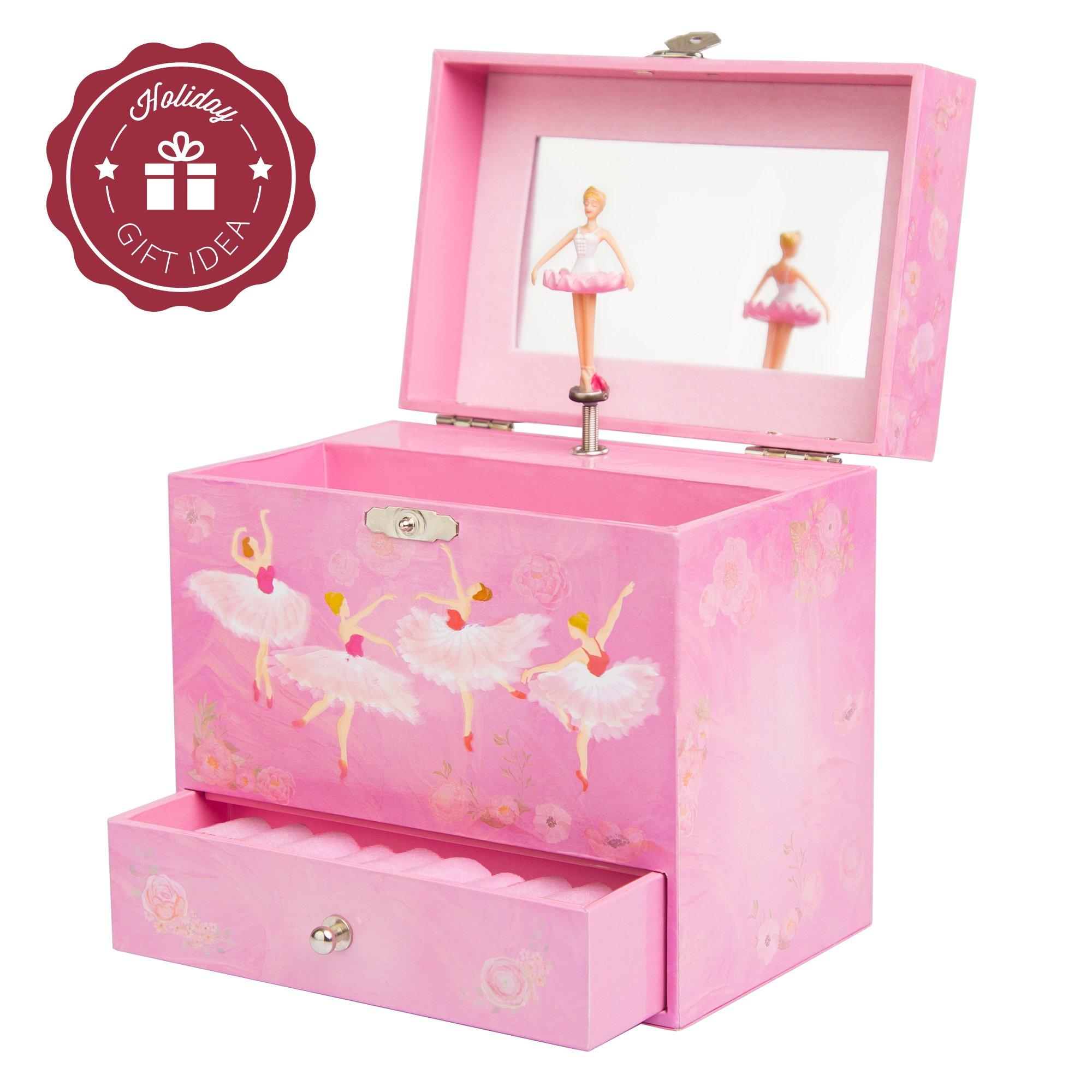 Pink Girls Musical Jewelry Box Ballet with Dance Ballerina Mirror Birthday Gift