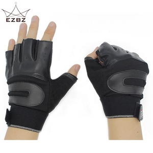 Weight Lifting Leather Grip Gym Workout Bodybuilding Fitness Gloves for Men