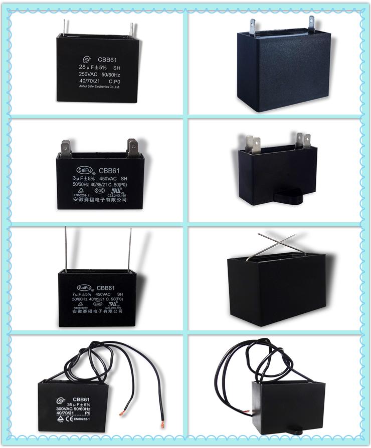 CBB61 motor run sh capacitor for ceiling fan
