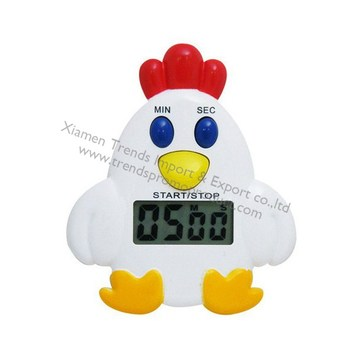 Cute Clip Chicken Electronic Kitchen Timer/60mins Plastic Electrical Timer