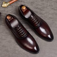 Phenkang/мужская деловая обувь из натуральной кожи; Туфли-оксфорды для мужчин; Итальянские модельные туфли; Свадебная кожаная деловая обувь на ...(Китай)