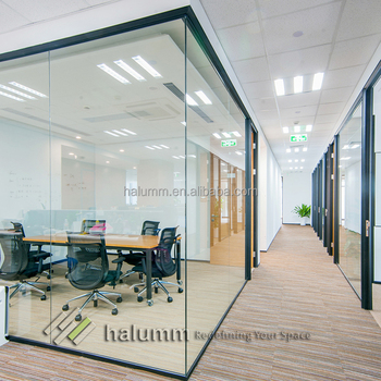 Modular Office Partition Transparent Single Tempered Glass Full High Office  Partition