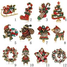 Multi design available rhinestone Christmas brooch for wholesale