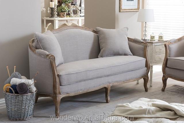 Wohnzimmer Möbel Französisch Landhausstil Holz Leinen Sofa Polster  Chesterfield Sofa