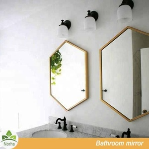 Norhs luxury antique brass color metal framed hexagon bathroom decorative wall mirror