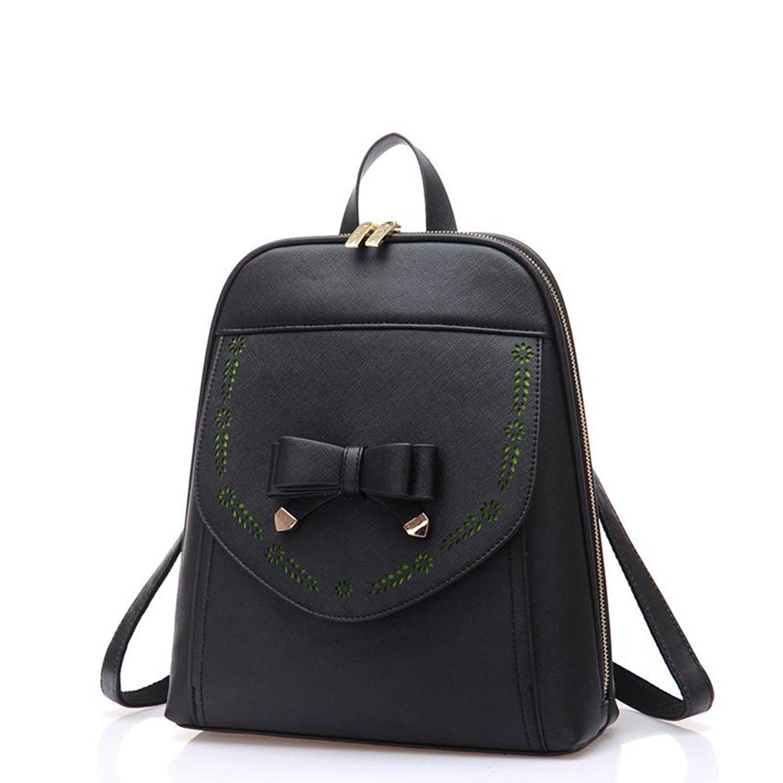FAIRYSAN Faux Leather Deisgner Backpack Shoulder Bag College Contrast Color Daypack
