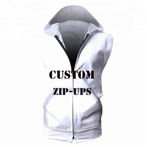 Custom 3d Allover Printed Summer hoodies Gym Fitness Sleeveless Zip Hoodie