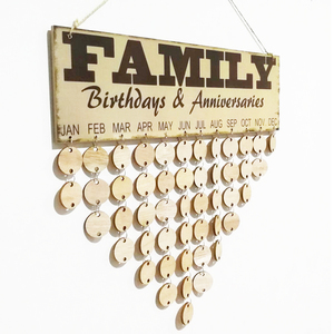 Family printing hanging showpieces for home decoration wooden perpetual calendar