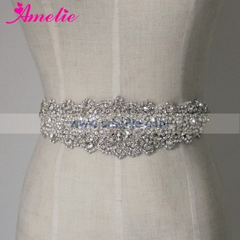 Amelie Crystal Wedding Sash Applique Bridal Belt