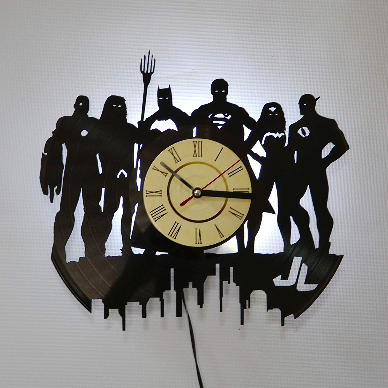 Justice League White LED Vinyl Clock Night Light Night Lamp I Love Led Vinyl Clock Wall Light Backlight Color Remote Controller Vintage Handmade Home Decor Art Decorative Wall