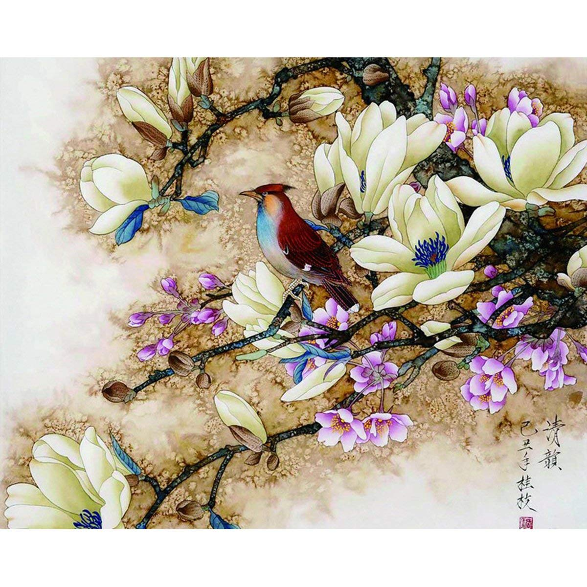 Shukqueen Diy Oil Painting, Adult's Paint by Number Kits, Acrylic Painting-Chinese Flowers and Birds Painting 16X20 Inch (Frameless)