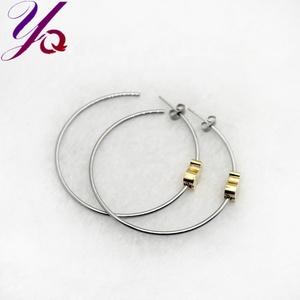 1385180b250a2 Simple handmade crochet two-tone earrings stainless steel earrings