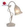Hotel painting metal flower glass shade fancy base E14 study table lamp