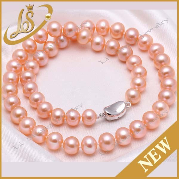 Natural Excellent Quality Round Pink Freshwater Pearl Necklace
