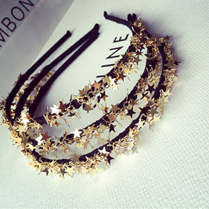 Baroque crowns gold star headband wedding hair accessories princess tiara Handmade Bridal Headpiece