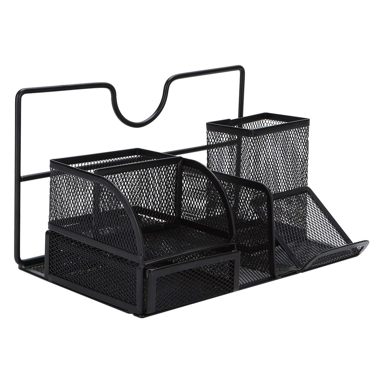 TOROTON Mesh Office Supply Caddy with Drawer, Metal Desk Organizer Storage Rack, Pen/Pencil Holder and Smartphone Holder - Black
