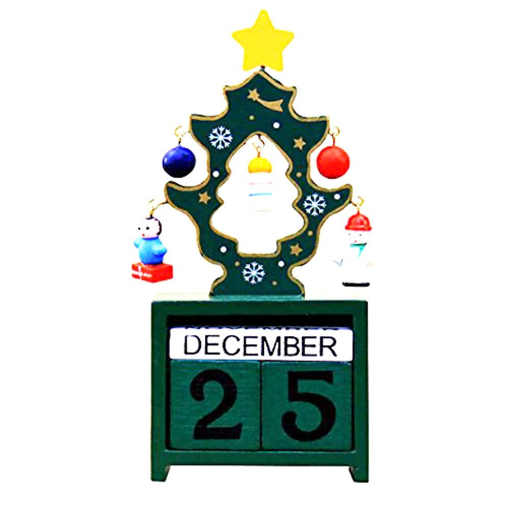 Rainie Love Christmas Decoration-Home Xmas Ornament Mini Wooden Christmas Tree Advent Countdown Calendar- Tabletop Christmas Countdown with Number Blocks Decoration(Green/Red/White)