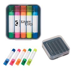 Commercio all'ingrosso prezzo a buon mercato multi-funzione penna di plastica su misura logo di caso bianco 5 in 1 set di 4 pcs penna a sfera 1 pc del gel solido evidenziatore