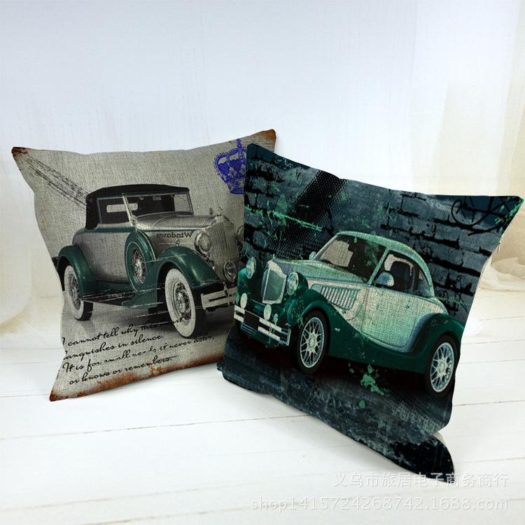 Hot Sale Pillow Covers Retro Vintage Classic Car Almofada Home Decor Cushion Cover 45X45cm Linen Pillowcase Christmas Cojines