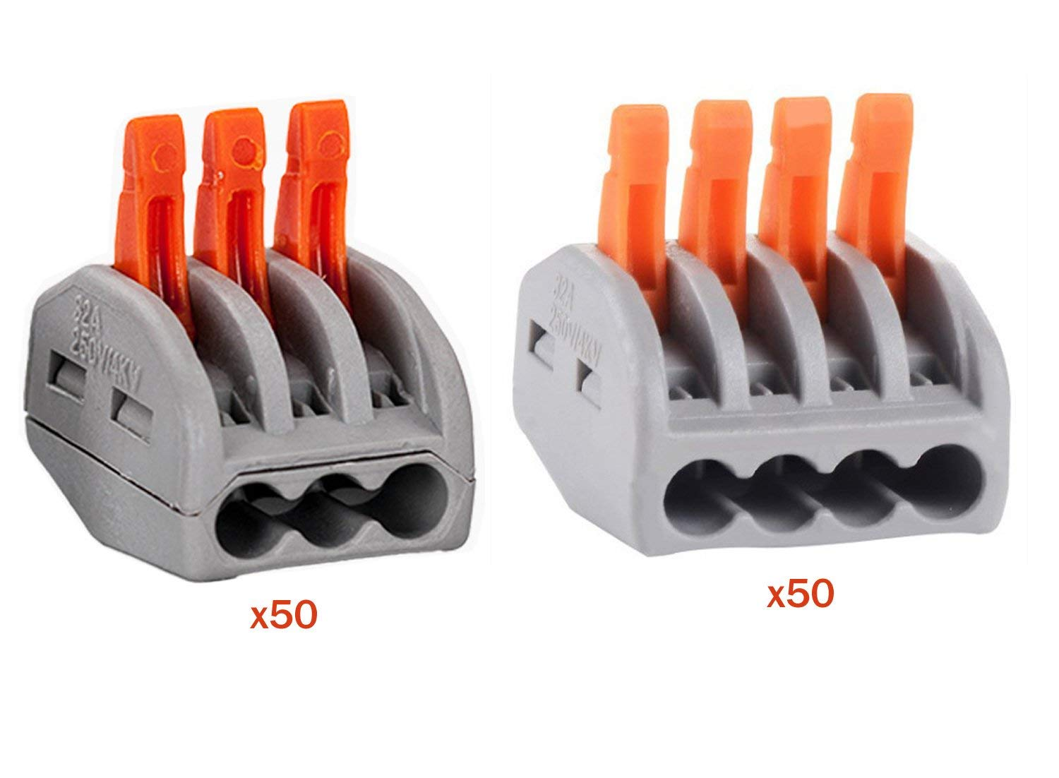 HIFROM Wire Compact Connectors 3 4 Port Lever-Nut Lever Conductor PCT-213 PCT-214 Terminal Block Wire Push Cable Connector for Junction Box Assortment Pack (100 PCS)