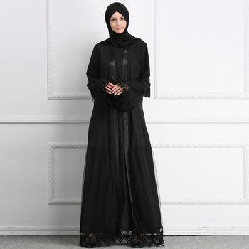 Wholesale Islamic clothing for women Black color Abaya For Muslim Women beautiful cloth with lace