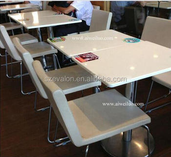 Waterfall Acrylic Solid Surface Table Tops Dining Table Set, Restaurant  Dining Table With Chairs
