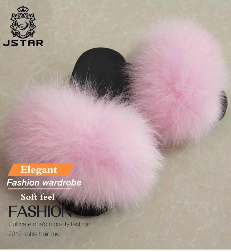 30500542c4f Soft Children Fox Fur Slippers  Kids Real Fur Sandals  Baby Fur Slides fur  sliders