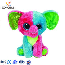 Personalized colourful elephant stuffed animal toy lovely plush elephant with big eyes