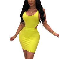 African Yellow Sexy Fashion Openwork Vest Short Skirt Two-Piece Set Women