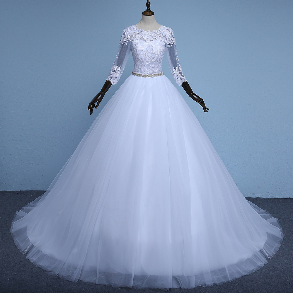 Ne156 Hot Sale Noble Three Quarter Ball Gown Wedding Dresses Simple ...