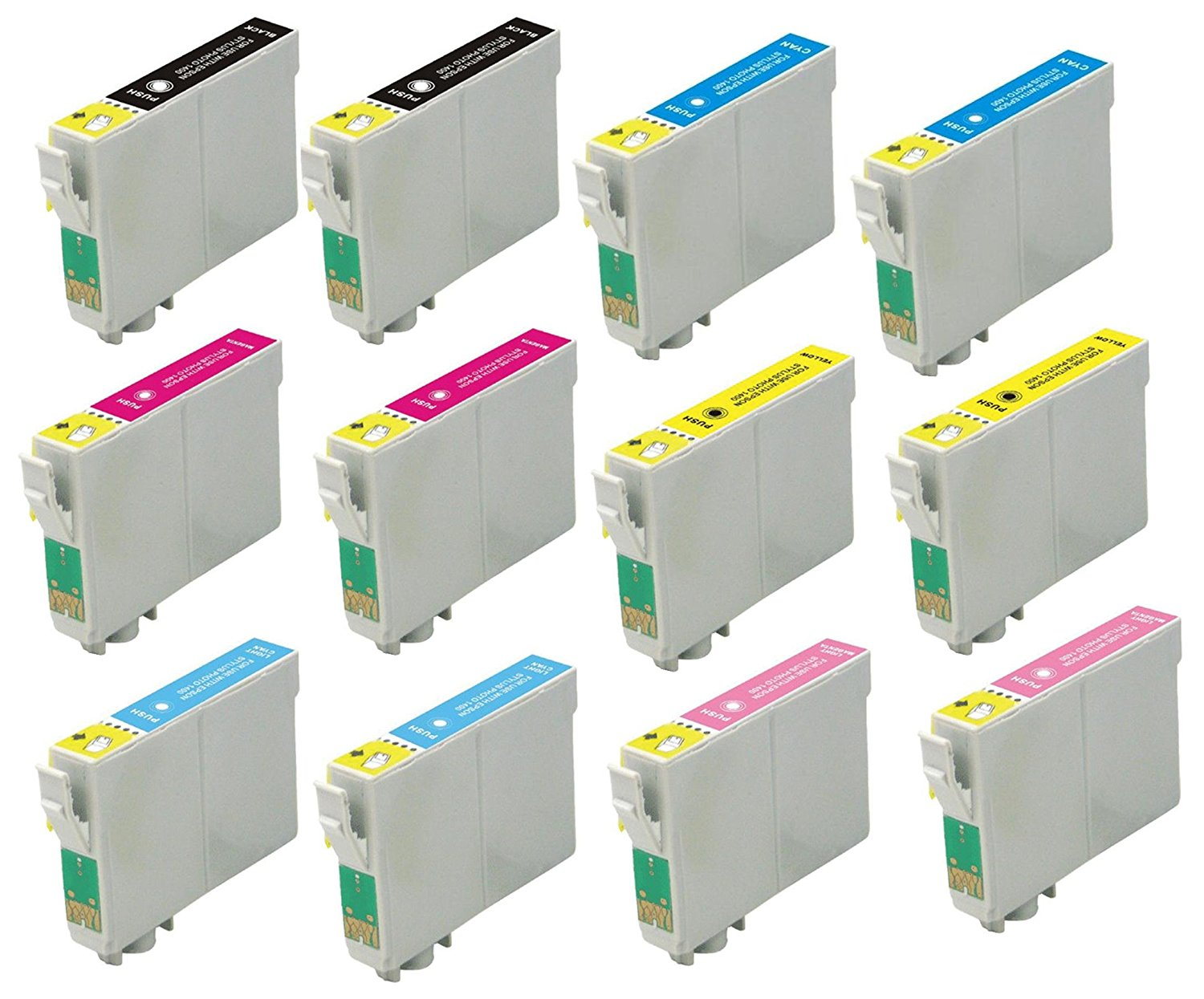 Virtual Outlet ® 12 Pack Remanufactured Inkjet Cartridges for Epson T048 #48, T048120 T048220 T048320 T048420 T048520 T048620 Compatible with Epson Stylus Photo R300, Stylus Photo R300M, Stylus Photo RX500, Stylus Photo R200, Stylus Photo RX600, Stylus Photo R220, Stylus Photo R320, Stylus Photo