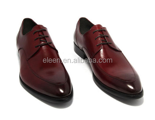 Men High-end Wine Red Calf Leather
