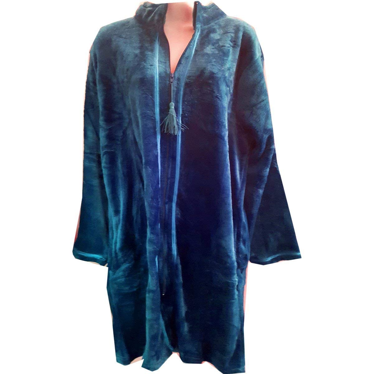Serre'' Women's Velvet Plush Robe Zipper Front w/Tassels - Blue, 2XL