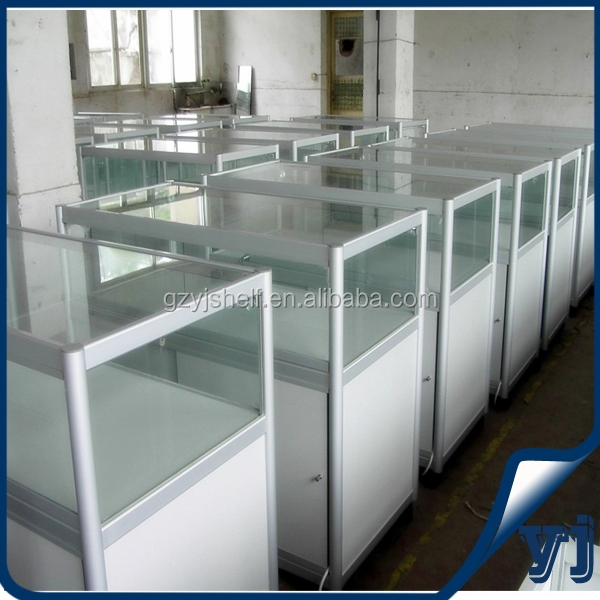Convenience store custom display cabinet jewllery counter with glass door and bottom cabinet