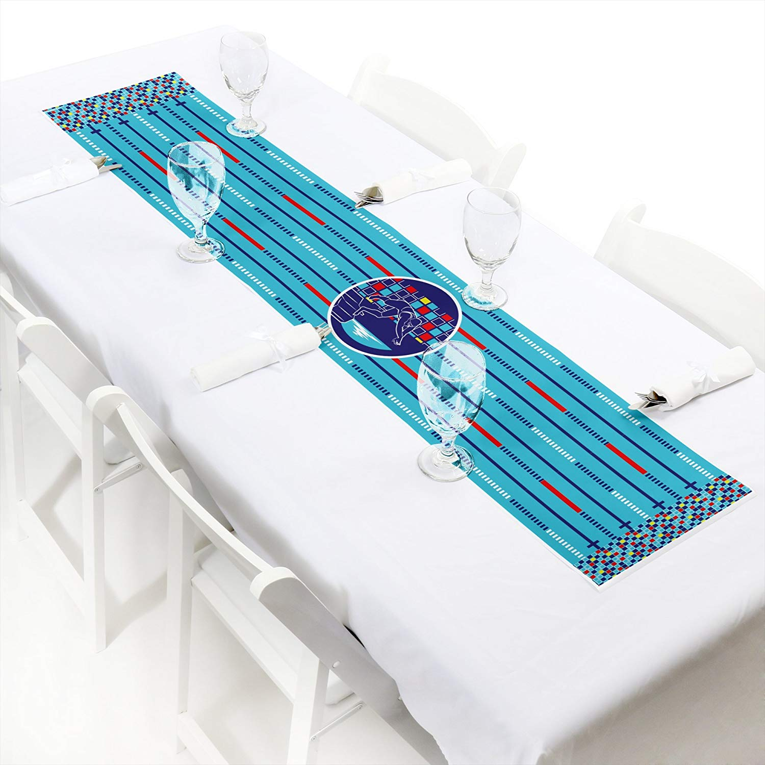 "Making Waves - Swim Team - Petite Swimming Party or Birthday Party Paper Table Runner - 12"" x 60"""