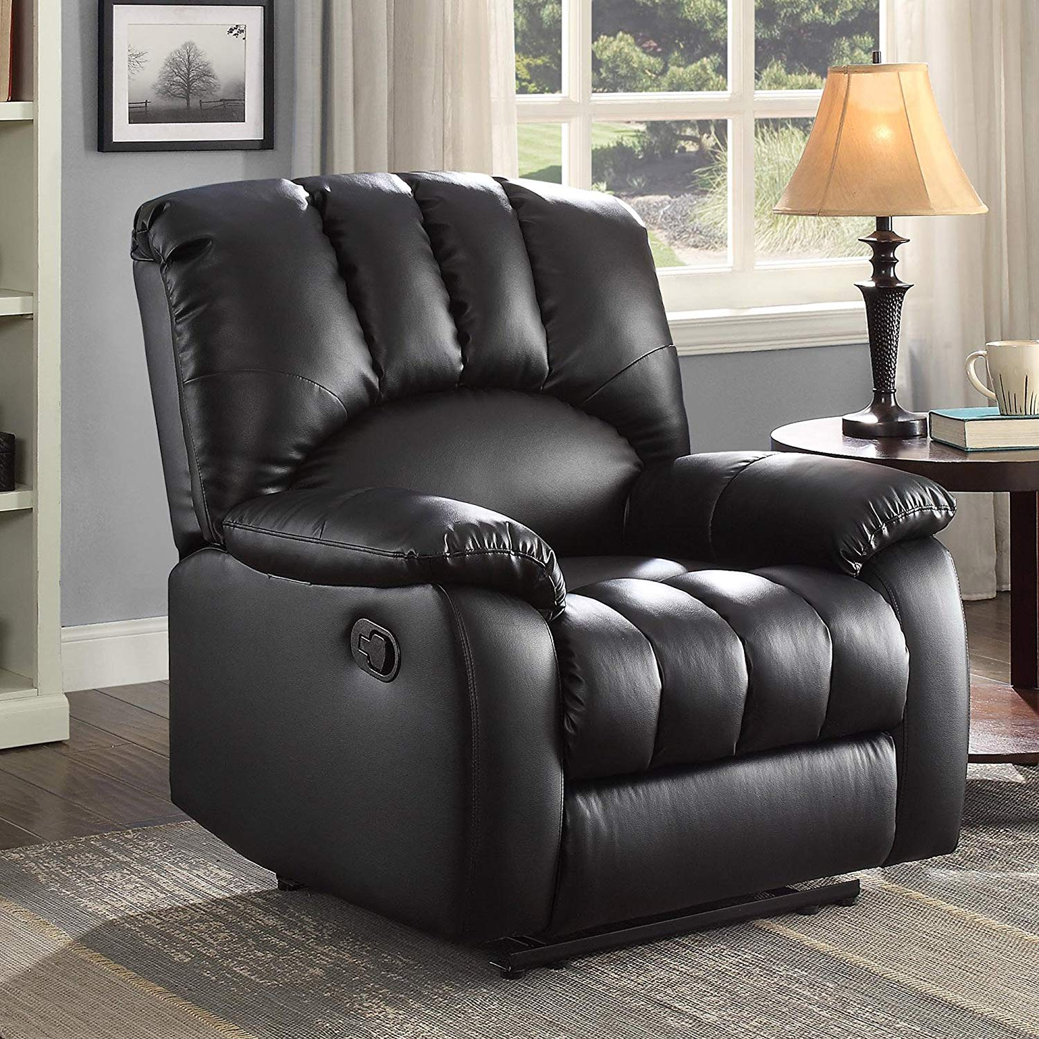 Stylish Living Room Or Bedroom Reclining Chair With High-Density Foam, Soft And Cozy, Supportive Suspension Straps, Solid Wood Frame Construction, Multi-Position Comfort Options, Black Finish